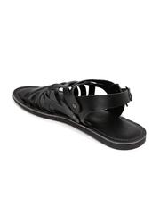 Tortoise Men Black Leather Sandals