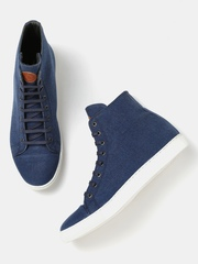 Moda Rapido Men Blue Solid High-Top Sneakers