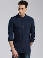 HRX by Hrithik Roshan Men Navy Blue Regular Fit Knitted Casual Shirt