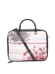 Parfois Women Pink Floral Print Laptop Bag with Sling Strap