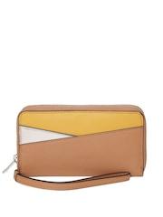 Parfois Women Tan Brown Textured Zip-Around Wallet
