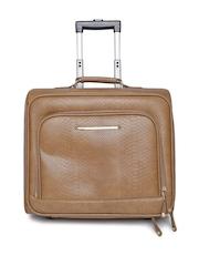 Parfois Women Brown Snakeskin Textured Trolley Bag