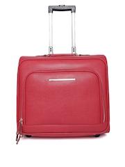 Parfois Women Red Textured Trolley Bag