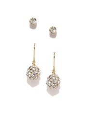 Parfois Set of 2 Gold-Toned Stone-Studded Earrings