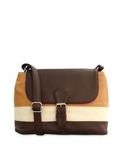 Toteteca Beige & Brown Striped Sling Bag