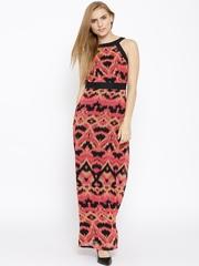 Vero Moda Coral Pink & Black Polyester Ikat Print Maxi Dress