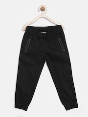 YK Boys Black Solid Regular Fit Cuffed Trousers