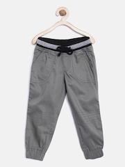 YK Boys Grey Solid Regular Fit Joggers