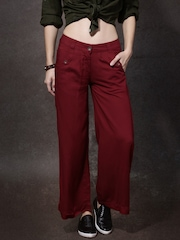 Roadster Women Maroon Solid PalazzoTrousers