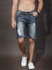 RDSTR Men Blue Washed Short Fit Denim Shorts