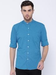 Wrangler Blue Printed Slim Fit Casual Shirt