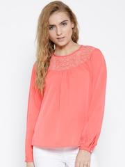 Sera Coral Pink Polyester Lace Yoke Top