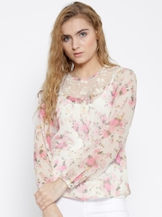 Sera Off-White Polyester Floral Print Sheer Top