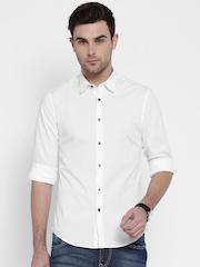 Flying Machine White Slim Casual Shirt