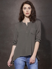 Roadster Women Grey Solid Shirt Style Top
