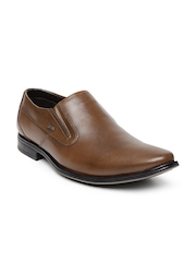 Lee Cooper Men Tan Brown Leather Slip-Ons