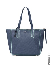Fossil Navy Textured Genuine Cowhide Leather Shoulder Bag