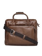 Fossil Men Brown Leather Laptop Bag
