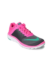 Nike Women Charcoal Grey & Neon Pink FS Lite Run 3 Running Shoes