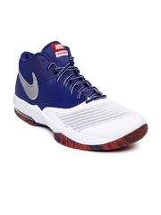 Nike Men White & Blue Air Max Emergent Basketball Shoes