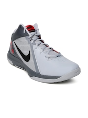 Nike Men Grey Air Overplay IX Mid-Top Basketball Shoes