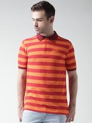 Nike Orange Striped Polo T-shirt