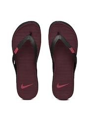 Nike Men Black & Burgundy Matira Flip-Flops
