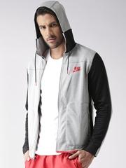 Nike Grey Melange AS NSW AV15 FZ FLC Colourblocked Hooded Sporty Jacket