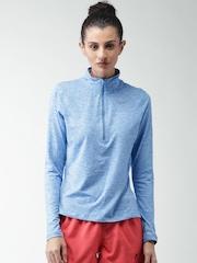 Nike Blue Melange AS ELEMENT HALF ZIP Running T-shirt