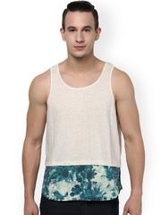 Atorse White & Blue Printed Innerwear Vest S16SND026