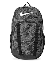 Nike Unisex Black & White Brasilia 7 Printed Backpack