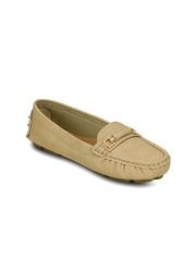 Kielz Women Beige Horsebit Loafers
