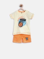 Baby League Boys Yellow & Orange Printed Clothing Set