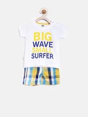 Baby League Boys White & Yellow Printed Clothing Set