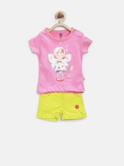 Baby League Girls Pink & Yellow Printed Clothing Set