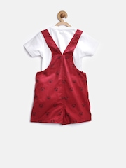 Baby League Boys Maroon & White Printed Dungarees with T-shirt