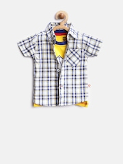Baby League Boys Blue & Yellow Checked Clothing Set