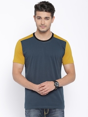 CULT FICTION Blue & Mustard Yellow Colourblocked Comfort Fit T-shirt