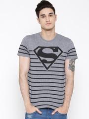 Superman Men Blue Printed Round Neck T-shirt