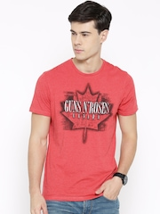 Guns & Roses Men Coral Red Printed Round Neck T-shirt