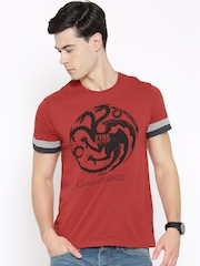 Game of Thrones Men Red Printed Round Neck T-shirt