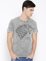 Game of Thrones Men Grey Printed Round Neck T-shirt