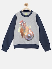 YK Disney Boys Grey Melange & Navy Printed Sweatshirt