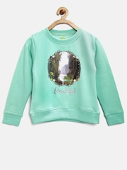 YK Disney Girls Mint Green Printed Sweatshirt