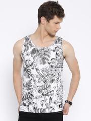 MTV White & Charcoal Grey Floral Print Sleeveless T-shirt