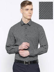 Arrow New York Black & White Printed Snug Fit Smart Casual Shirt