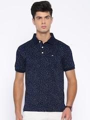 Arrow Sport Navy Printed Polo T-shirt