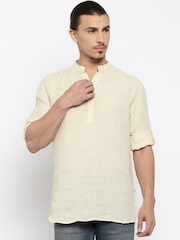 Parx Cream-Coloured Slim Linen Tunic Shirt
