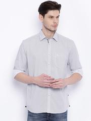 Parx Men Off White Printed Slim Fit Casual Shirt