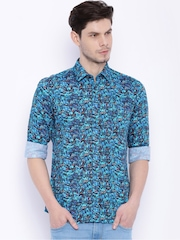 Parx Men Blue Printed Slim Fit Casual Shirt